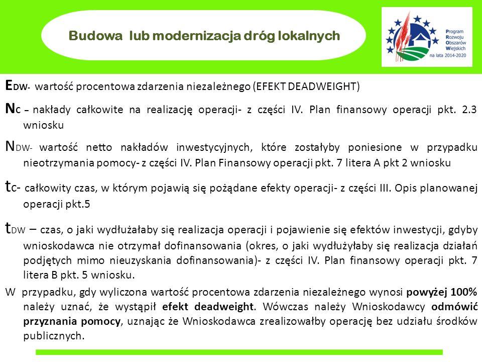 Budowa lub modernizacja dróg lokalnych E DW - wartość procentowa zdarzenia niezależnego (EFEKT DEADWEIGHT) N C – nakłady całkowite na realizację operacji- z części IV.