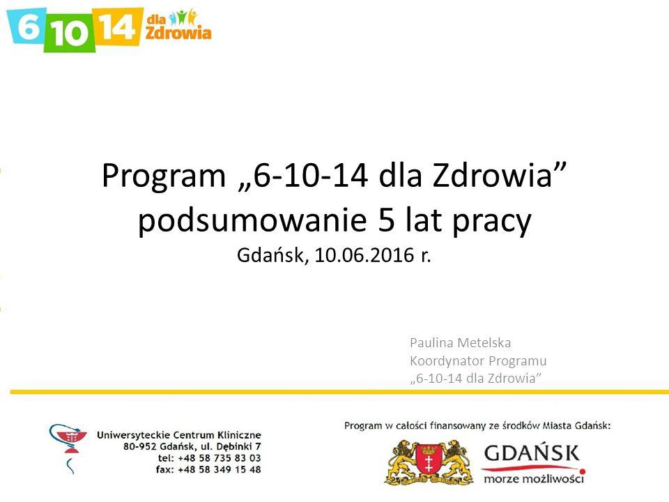 """Program """"6-10-14 dla Zdrowia podsumowanie 5 lat pracy Gdańsk, 10.06.2016 r."""