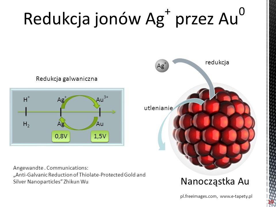 Redukcja jonów Ag + przez Au 0 H+H+ H2H2 Ag + Ag Au 3+ Au 0,8V1,5V pl.freeimages.com, www.e-tapety.pl Ag + Nanocząstka Au redukcja utlenianie Redukcja galwaniczna 10 Angewandte.