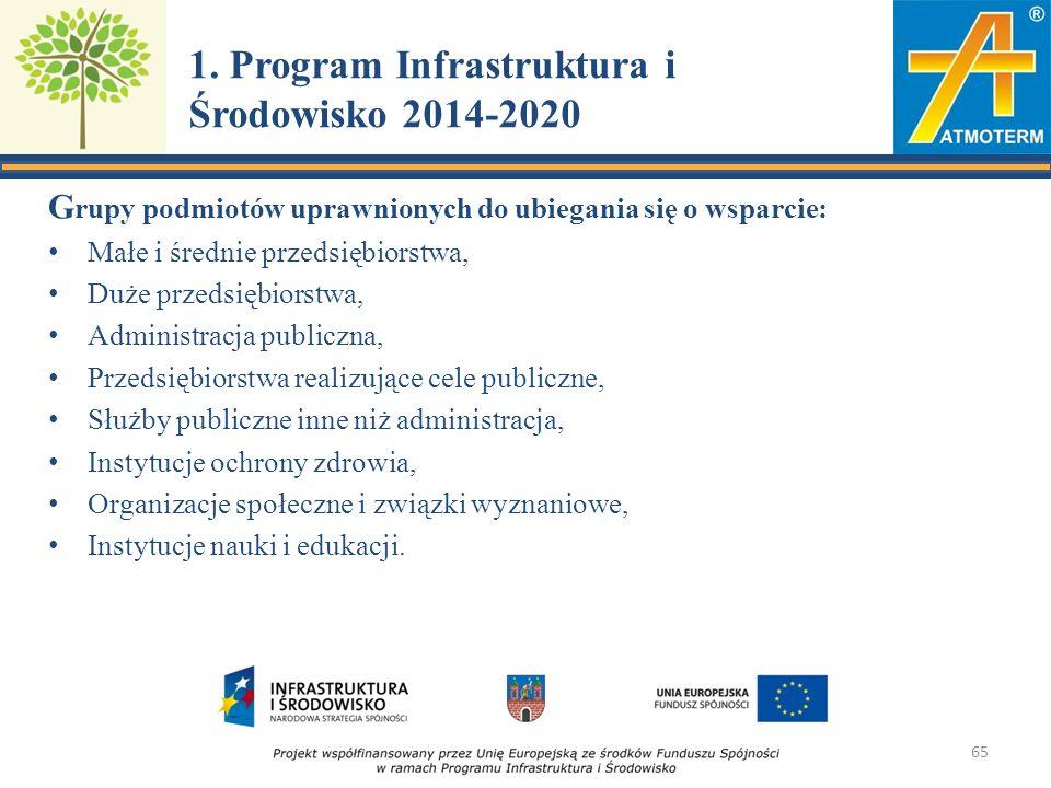 1. Program Infrastruktura i Środowisko 2014-2020 G rupy podmiotów uprawnionych do ubiegania się o wsparcie: Małe i średnie przedsiębiorstwa, Duże prze