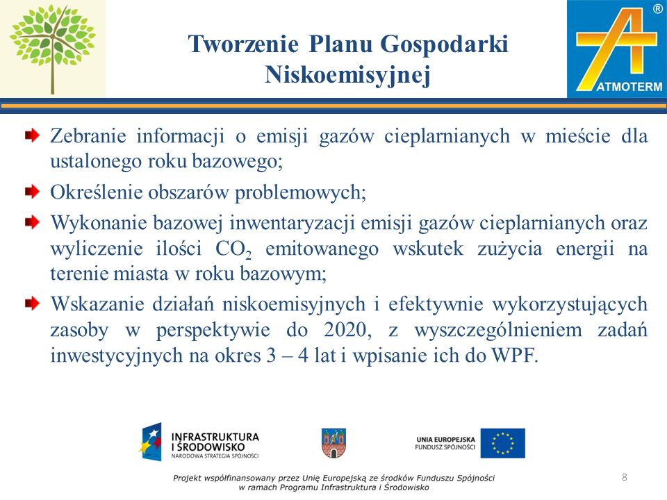 Zakres terytorialny i horyzont czasowy PGN Dotyczy obszaru geograficznego podlegającego samorządowi (miasta); Uwzględnia działania w sektorze publicznym i prywatnym; Obejmuje działania inwestycyjne i nieinwestycyjne; Uwzględnia instalacje objęte EU ETS (duże firmy); Obowiązkowo dotyczy okresu do 2020 roku; Może obejmować dłuższy okres (do 2030 lub nawet do 2050 roku).