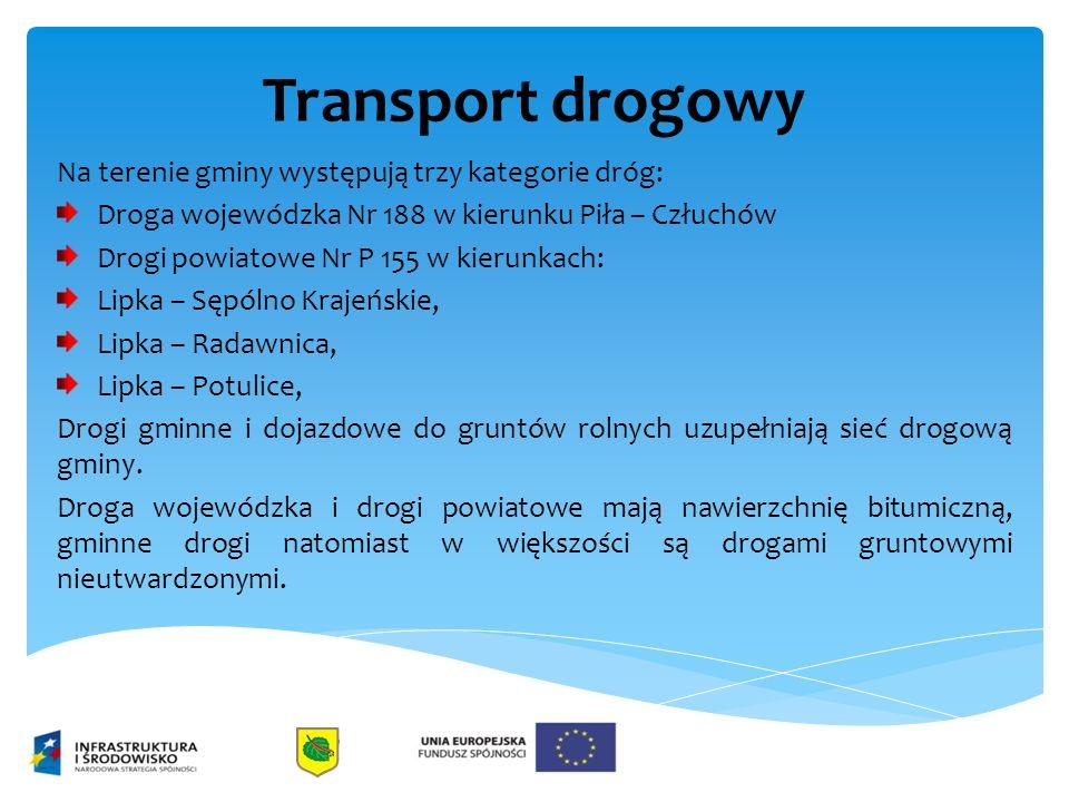 Transport drogowy Na terenie gminy występują trzy kategorie dróg: Droga wojewódzka Nr 188 w kierunku Piła – Człuchów Drogi powiatowe Nr P 155 w kierun