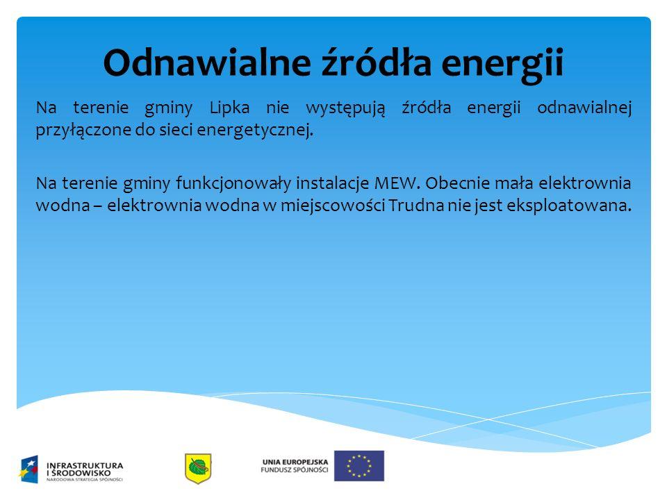 Odnawialne źródła energii Na terenie gminy Lipka nie występują źródła energii odnawialnej przyłączone do sieci energetycznej. Na terenie gminy funkcjo