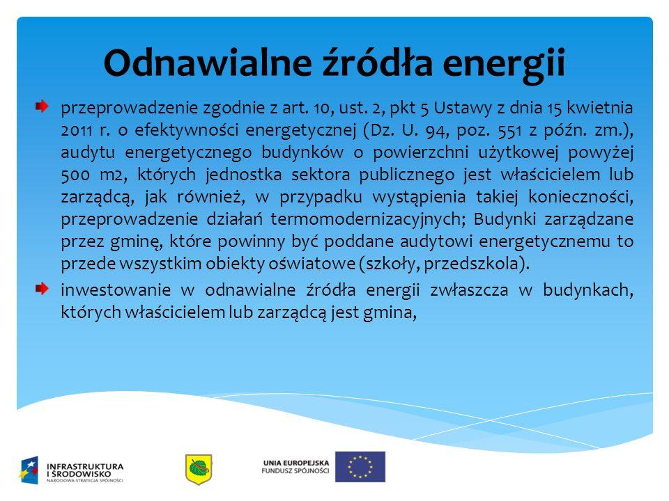 Odnawialne źródła energii przeprowadzenie zgodnie z art. 10, ust. 2, pkt 5 Ustawy z dnia 15 kwietnia 2011 r. o efektywności energetycznej (Dz. U. 94,