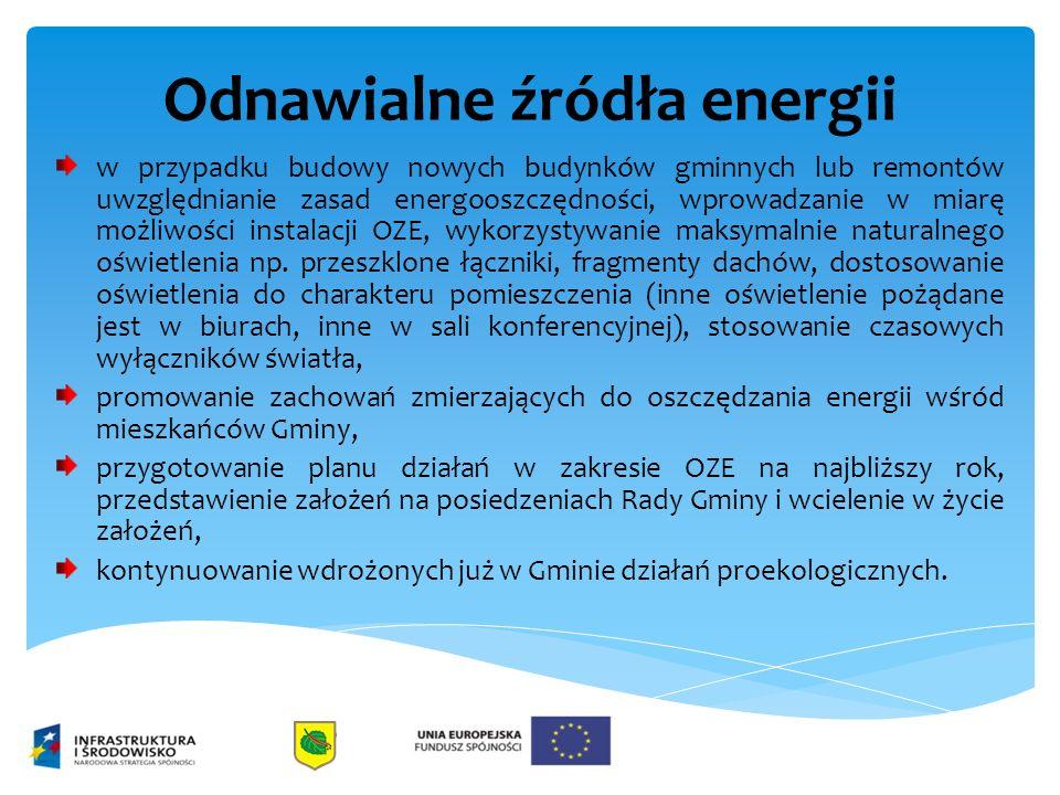 Odnawialne źródła energii w przypadku budowy nowych budynków gminnych lub remontów uwzględnianie zasad energooszczędności, wprowadzanie w miarę możliwości instalacji OZE, wykorzystywanie maksymalnie naturalnego oświetlenia np.