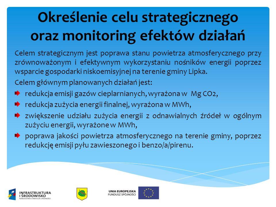 Określenie celu strategicznego oraz monitoring efektów działań Celem strategicznym jest poprawa stanu powietrza atmosferycznego przy zrównoważonym i efektywnym wykorzystaniu nośników energii poprzez wsparcie gospodarki niskoemisyjnej na terenie gminy Lipka.