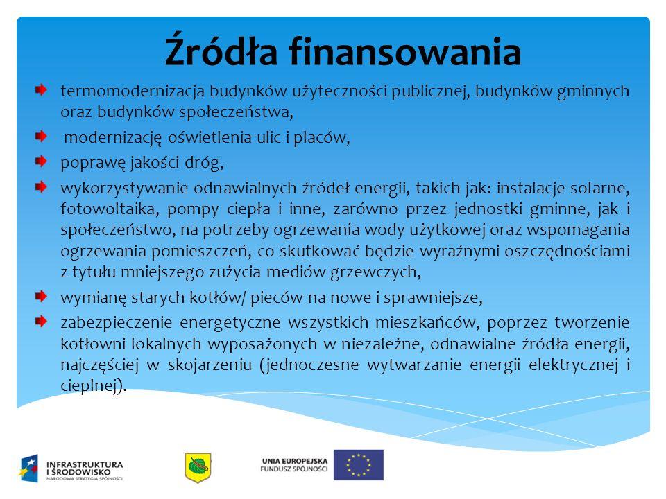 Źródła finansowania termomodernizacja budynków użyteczności publicznej, budynków gminnych oraz budynków społeczeństwa, modernizację oświetlenia ulic i placów, poprawę jakości dróg, wykorzystywanie odnawialnych źródeł energii, takich jak: instalacje solarne, fotowoltaika, pompy ciepła i inne, zarówno przez jednostki gminne, jak i społeczeństwo, na potrzeby ogrzewania wody użytkowej oraz wspomagania ogrzewania pomieszczeń, co skutkować będzie wyraźnymi oszczędnościami z tytułu mniejszego zużycia mediów grzewczych, wymianę starych kotłów/ pieców na nowe i sprawniejsze, zabezpieczenie energetyczne wszystkich mieszkańców, poprzez tworzenie kotłowni lokalnych wyposażonych w niezależne, odnawialne źródła energii, najczęściej w skojarzeniu (jednoczesne wytwarzanie energii elektrycznej i cieplnej).