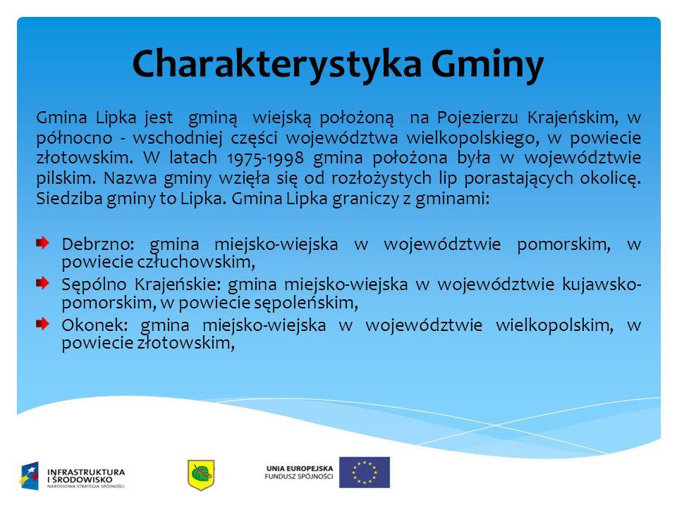 Charakterystyka Gminy Gmina Lipka jest gminą wiejską położoną na Pojezierzu Krajeńskim, w północno - wschodniej części województwa wielkopolskiego, w