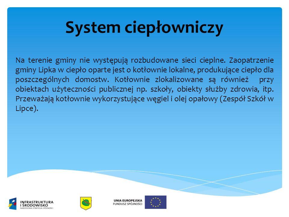 System ciepłowniczy Na terenie gminy nie występują rozbudowane sieci cieplne. Zaopatrzenie gminy Lipka w ciepło oparte jest o kotłownie lokalne, produ