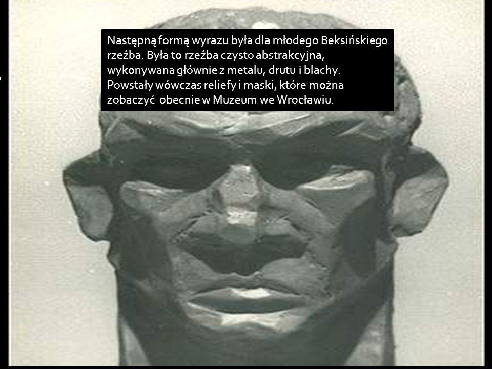 Następną formą wyrazu była dla młodego Beksińskiego rzeźba. Była to rzeźba czysto abstrakcyjna, wykonywana głównie z metalu, drutu i blachy. Powstały