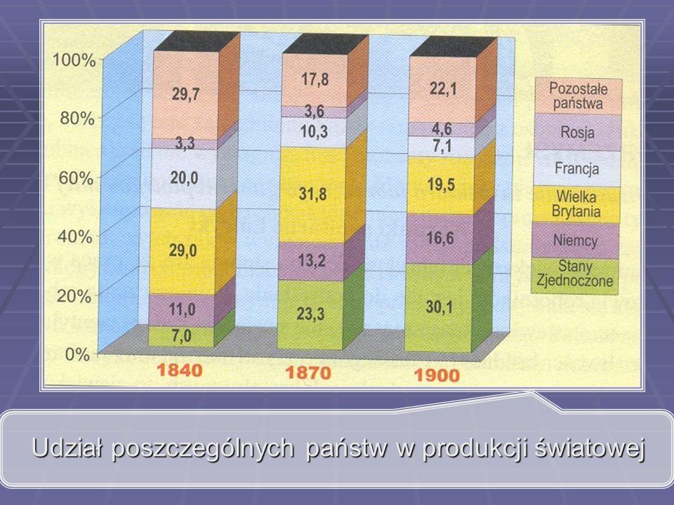 Udział poszczególnych państw w produkcji światowej