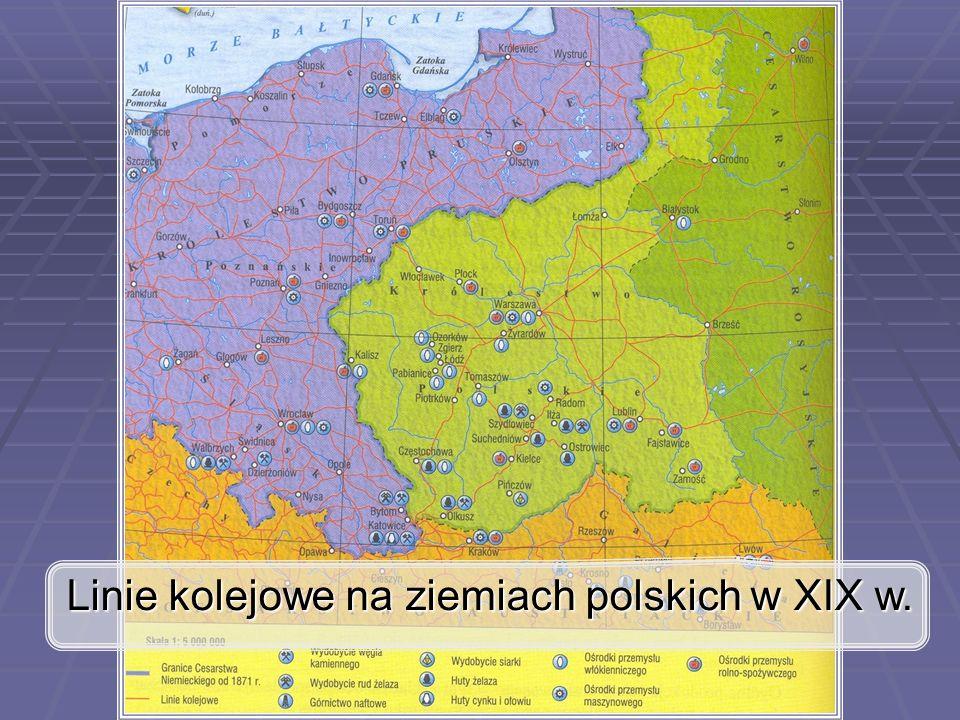 Linie kolejowe na ziemiach polskich w XIX w.