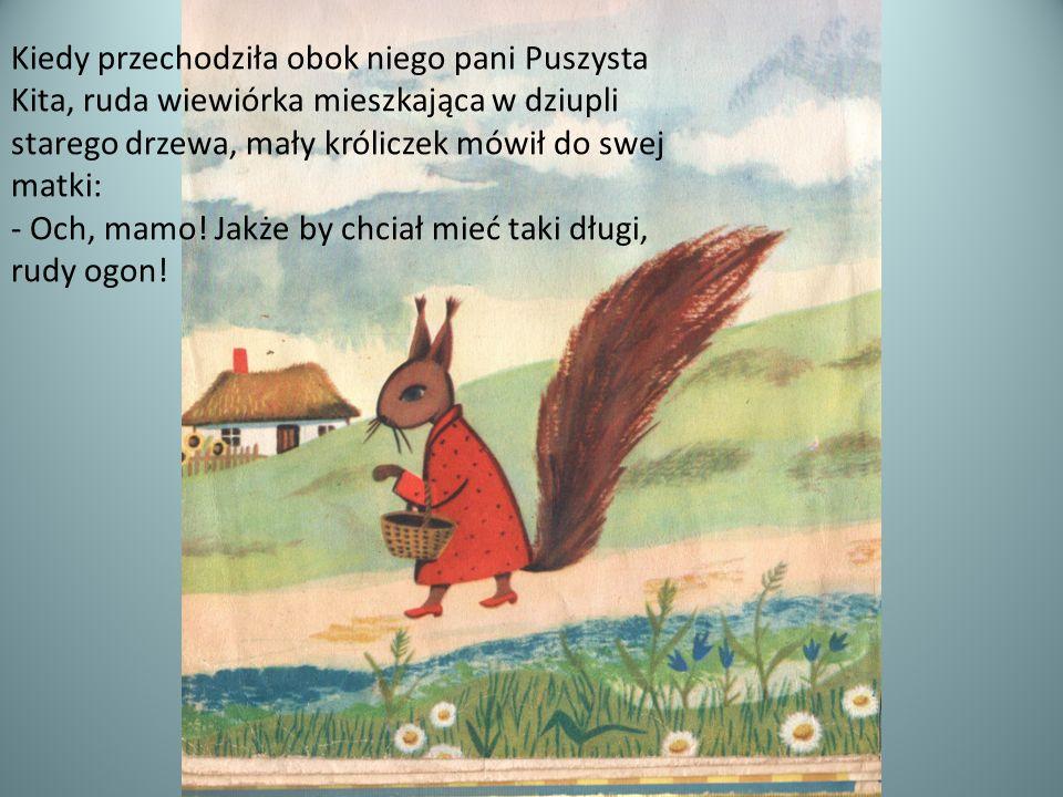 Kiedy przechodziła obok niego pani Puszysta Kita, ruda wiewiórka mieszkająca w dziupli starego drzewa, mały króliczek mówił do swej matki: - Och, mamo
