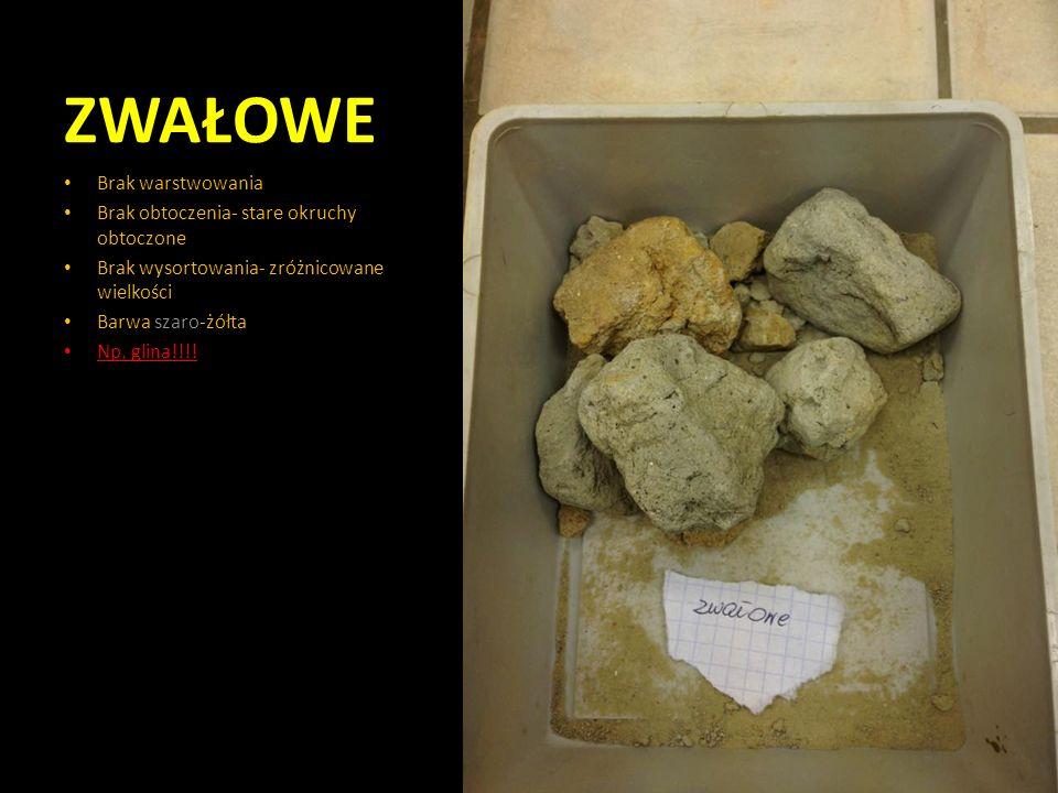 ZWAŁOWE Brak warstwowania Brak obtoczenia- stare okruchy obtoczone Brak wysortowania- zróżnicowane wielkości Barwa szaro-żółta Np. glina!!!!