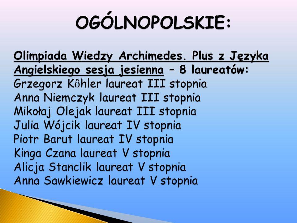 OGÓLNOPOLSKIE: Olimpiada Wiedzy Archimedes.