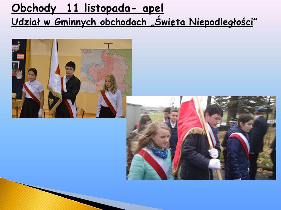 """Obchody 11 listopada- apel Udział w Gminnych obchodach """"Święta Niepodległości"""