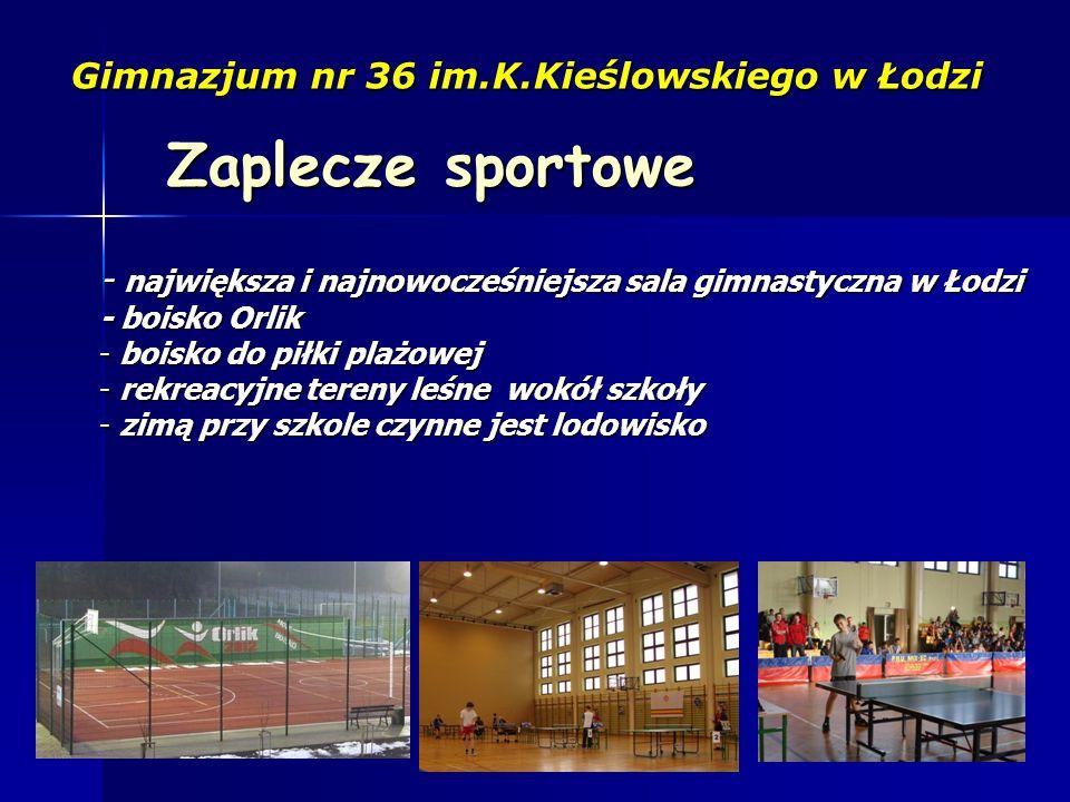 Zaplecze sportowe Gimnazjum nr 36 im.K.Kieślowskiego w Łodzi - największa i najnowocześniejsza sala gimnastyczna w Łodzi - boisko Orlik - boisko do pi