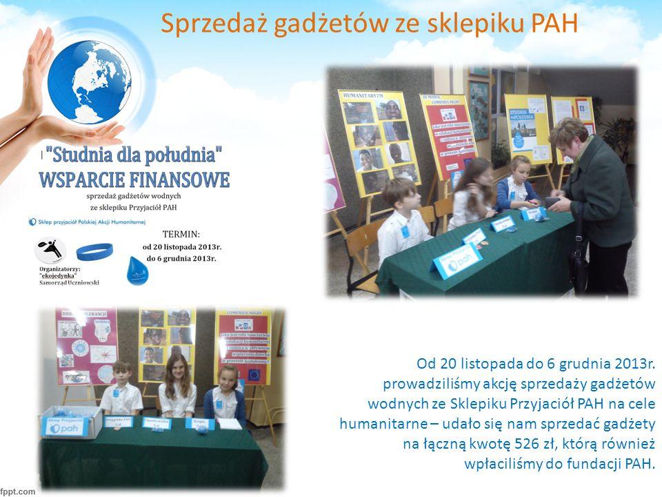Sprzedaż gadżetów ze sklepiku PAH Od 20 listopada do 6 grudnia 2013r.
