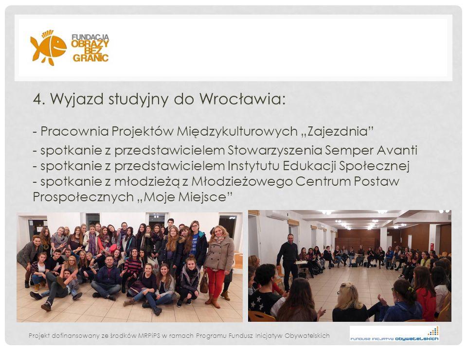 Projekt dofinansowany ze środków MRPiPS w ramach Programu Fundusz Inicjatyw Obywatelskich 4. Wyjazd studyjny do Wrocławia: - Pracownia Projektów Międz