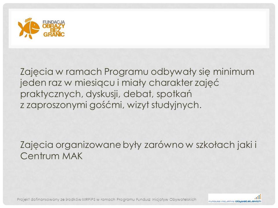 Projekt dofinansowany ze środków MRPiPS w ramach Programu Fundusz Inicjatyw Obywatelskich Formy zajęć: 1.