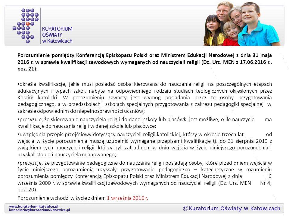 Porozumienie pomiędzy Konferencją Episkopatu Polski oraz Ministrem Edukacji Narodowej z dnia 31 maja 2016 r.