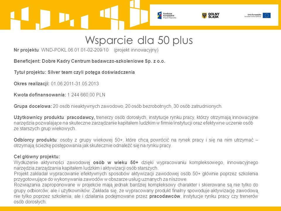 Wsparcie dla 50 plus Nr projektu: WND-POKL.06.01.01-02-209/10 (projekt innowacyjny) Beneficjent: Dobre Kadry Centrum badawczo-szkoleniowe Sp.