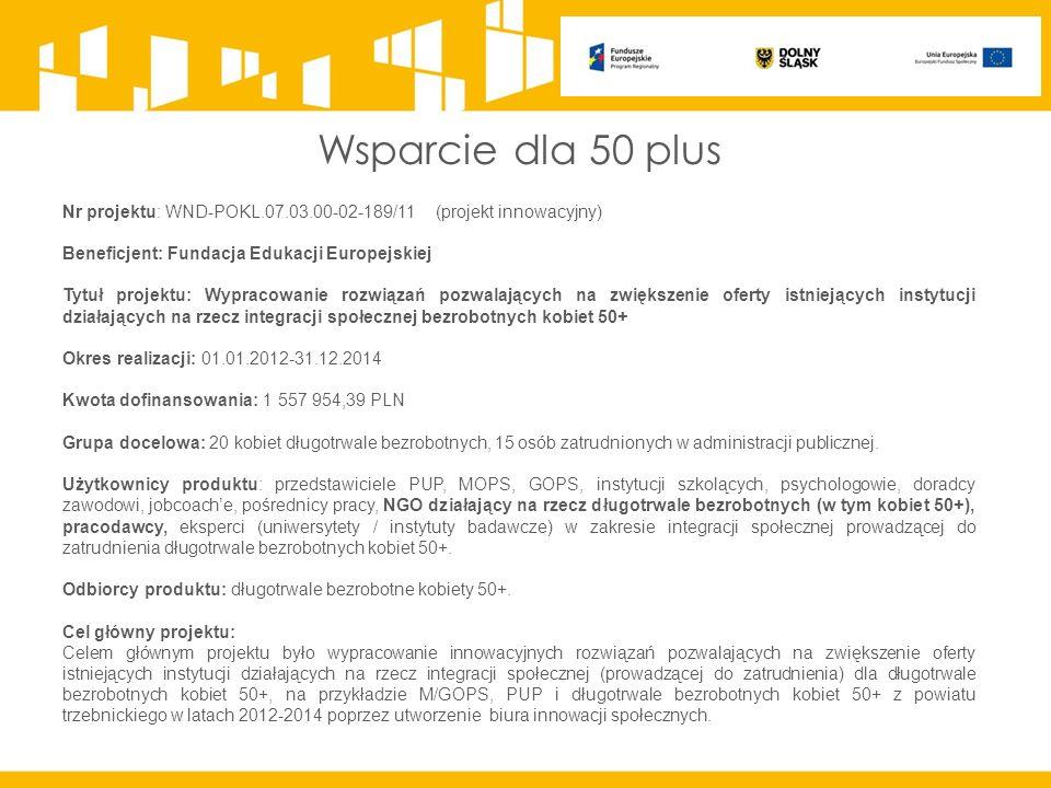 Wsparcie dla 50 plus Nr projektu: WND-POKL.07.03.00-02-189/11 (projekt innowacyjny) Beneficjent: Fundacja Edukacji Europejskiej Tytuł projektu: Wypracowanie rozwiązań pozwalających na zwiększenie oferty istniejących instytucji działających na rzecz integracji społecznej bezrobotnych kobiet 50+ Okres realizacji: 01.01.2012-31.12.2014 Kwota dofinansowania: 1 557 954,39 PLN Grupa docelowa: 20 kobiet długotrwale bezrobotnych, 15 osób zatrudnionych w administracji publicznej.