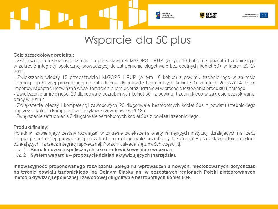 Wsparcie dla 50 plus Cele szczegółowe projektu: - Zwiększenie efektywności działań 15 przedstawicieli M/GOPS i PUP (w tym 10 kobiet) z powiatu trzebnickiego w zakresie integracji społecznej prowadzącej do zatrudnienia długotrwale bezrobotnych kobiet 50+ w latach 2012- 2014.