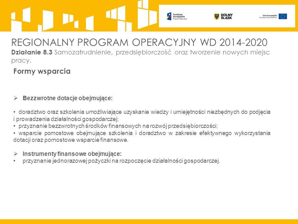 REGIONALNY PROGRAM OPERACYJNY WD 2014-2020 Działanie 8.3 Samozatrudnienie, przedsiębiorczość oraz tworzenie nowych miejsc pracy.
