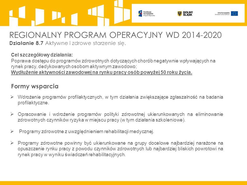 REGIONALNY PROGRAM OPERACYJNY WD 2014-2020 Działanie 8.7 Aktywne i zdrowe starzenie się.