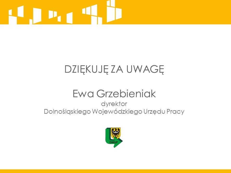 DZIĘKUJĘ ZA UWAGĘ Ewa Grzebieniak dyrektor Dolnośląskiego Wojewódzkiego Urzędu Pracy