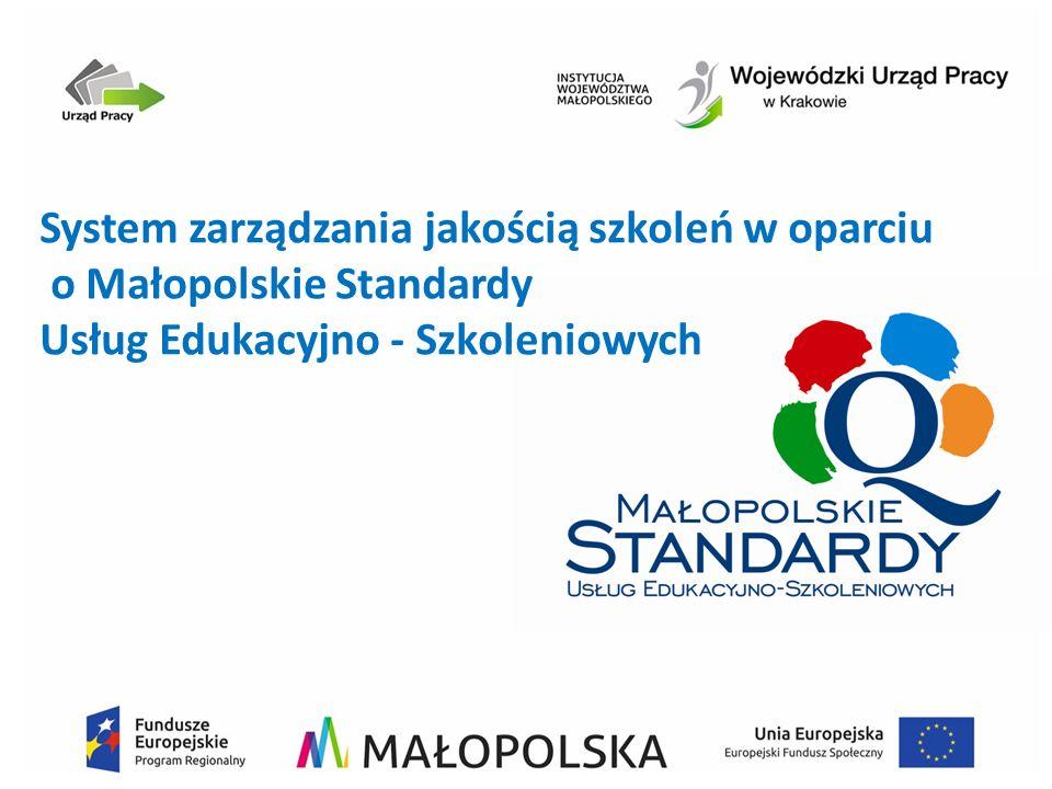 System zarządzania jakością szkoleń w oparciu o Małopolskie Standardy Usług Edukacyjno - Szkoleniowych