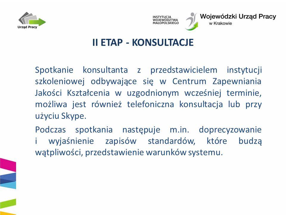 II ETAP - KONSULTACJE Spotkanie konsultanta z przedstawicielem instytucji szkoleniowej odbywające się w Centrum Zapewniania Jakości Kształcenia w uzgo