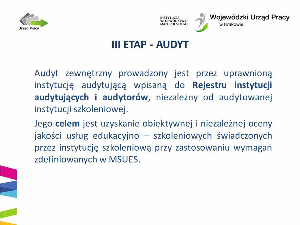 III ETAP - AUDYT Audyt zewnętrzny prowadzony jest przez uprawnioną instytucję audytującą wpisaną do Rejestru instytucji audytujących i audytorów, niezależny od audytowanej instytucji szkoleniowej.