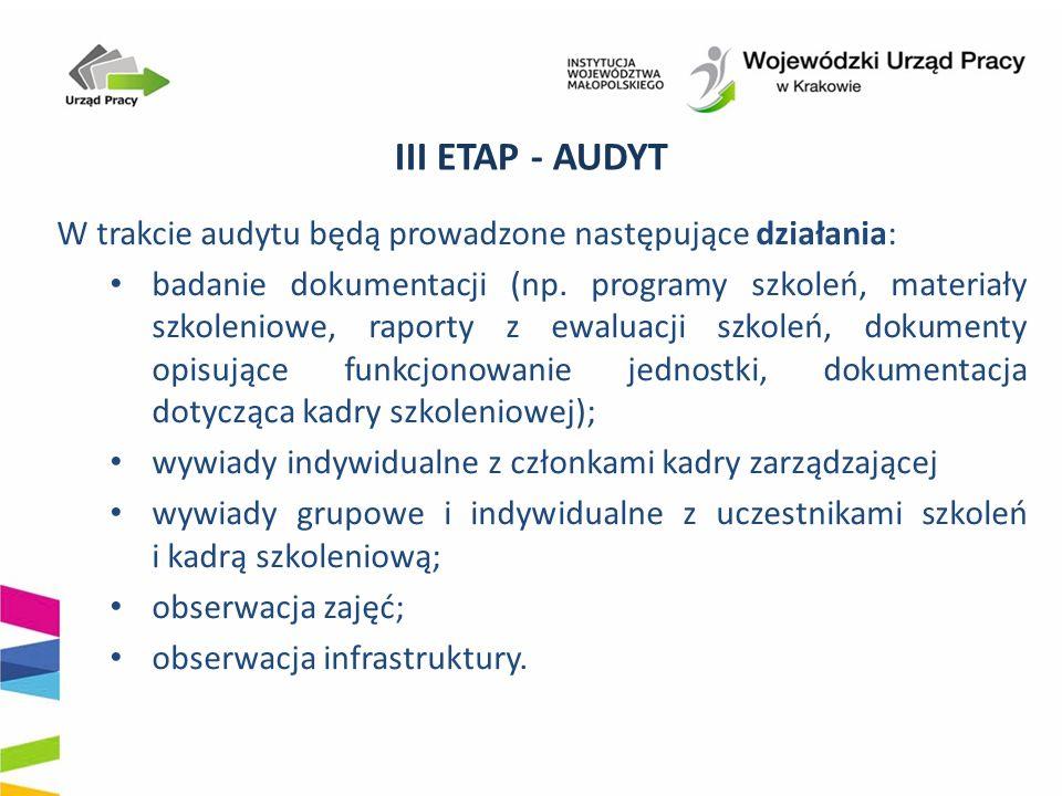 III ETAP - AUDYT W trakcie audytu będą prowadzone następujące działania: badanie dokumentacji (np. programy szkoleń, materiały szkoleniowe, raporty z