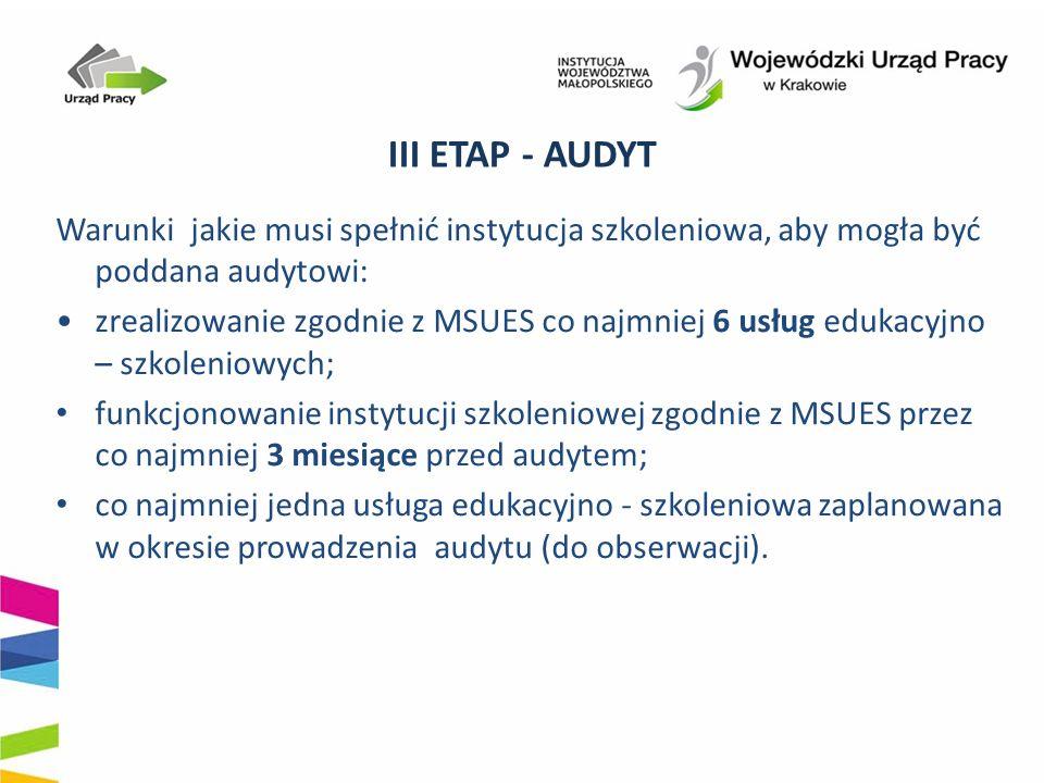 III ETAP - AUDYT Warunki jakie musi spełnić instytucja szkoleniowa, aby mogła być poddana audytowi: zrealizowanie zgodnie z MSUES co najmniej 6 usług