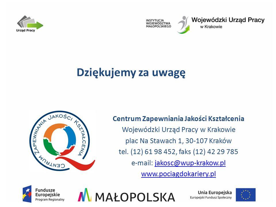 Dziękujemy za uwagę Centrum Zapewniania Jakości Kształcenia Wojewódzki Urząd Pracy w Krakowie plac Na Stawach 1, 30-107 Kraków tel. (12) 61 98 452, fa