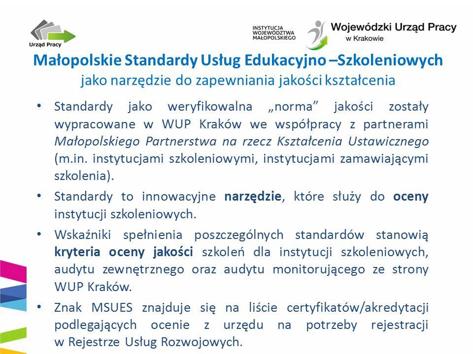 """Małopolskie Standardy Usług Edukacyjno –Szkoleniowych jako narzędzie do zapewniania jakości kształcenia Standardy jako weryfikowalna """"norma"""" jakości z"""