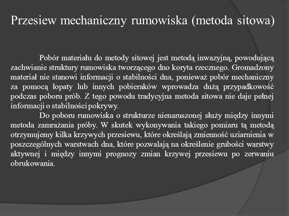 Pobór materiału do metody sitowej jest metodą inwazyjną, powodującą zachwianie struktury rumowiska tworzącego dno koryta rzecznego.