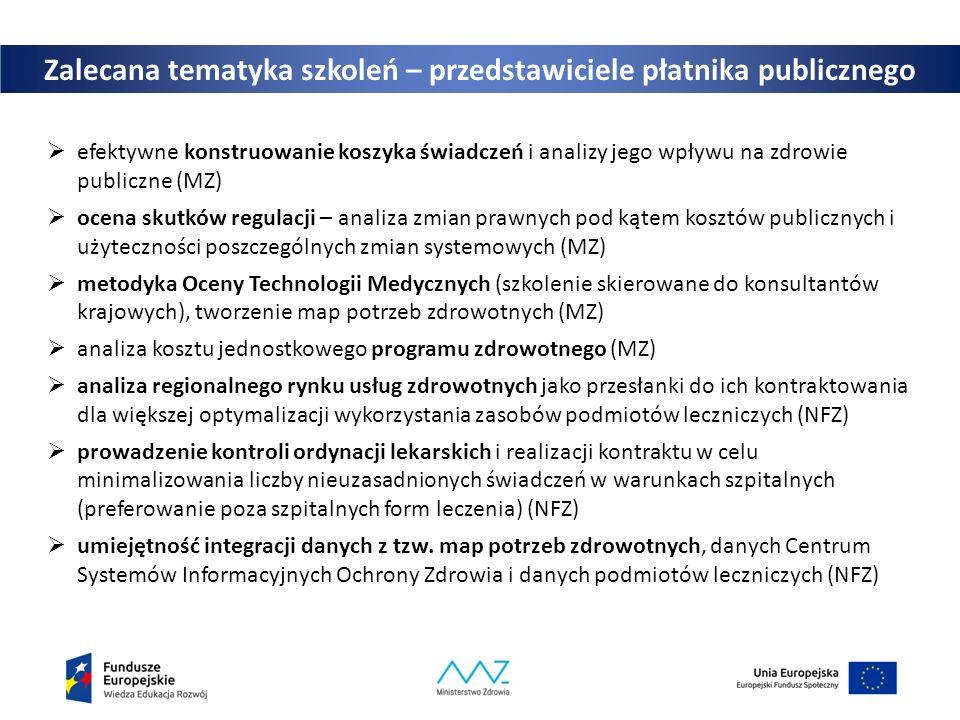 Zalecana tematyka szkoleń – przedstawiciele płatnika publicznego  efektywne konstruowanie koszyka świadczeń i analizy jego wpływu na zdrowie publiczne (MZ)  ocena skutków regulacji – analiza zmian prawnych pod kątem kosztów publicznych i użyteczności poszczególnych zmian systemowych (MZ)  metodyka Oceny Technologii Medycznych (szkolenie skierowane do konsultantów krajowych), tworzenie map potrzeb zdrowotnych (MZ)  analiza kosztu jednostkowego programu zdrowotnego (MZ)  analiza regionalnego rynku usług zdrowotnych jako przesłanki do ich kontraktowania dla większej optymalizacji wykorzystania zasobów podmiotów leczniczych (NFZ)  prowadzenie kontroli ordynacji lekarskich i realizacji kontraktu w celu minimalizowania liczby nieuzasadnionych świadczeń w warunkach szpitalnych (preferowanie poza szpitalnych form leczenia) (NFZ)  umiejętność integracji danych z tzw.