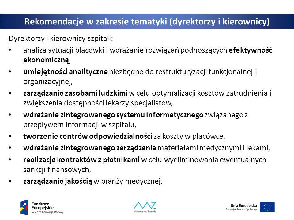 Rekomendacje w zakresie tematyki (dyrektorzy i kierownicy) Dyrektorzy i kierownicy szpitali: analiza sytuacji placówki i wdrażanie rozwiązań podnoszących efektywność ekonomiczną, umiejętności analityczne niezbędne do restrukturyzacji funkcjonalnej i organizacyjnej, zarządzanie zasobami ludzkimi w celu optymalizacji kosztów zatrudnienia i zwiększenia dostępności lekarzy specjalistów, wdrażanie zintegrowanego systemu informatycznego związanego z przepływem informacji w szpitalu, tworzenie centrów odpowiedzialności za koszty w placówce, wdrażanie zintegrowanego zarządzania materiałami medycznymi i lekami, realizacja kontraktów z płatnikami w celu wyeliminowania ewentualnych sankcji finansowych, zarządzanie jakością w branży medycznej.