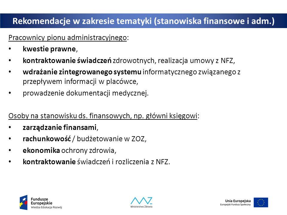 Rekomendacje w zakresie tematyki (stanowiska finansowe i adm.) Pracownicy pionu administracyjnego: kwestie prawne, kontraktowanie świadczeń zdrowotnych, realizacja umowy z NFZ, wdrażanie zintegrowanego systemu informatycznego związanego z przepływem informacji w placówce, prowadzenie dokumentacji medycznej.
