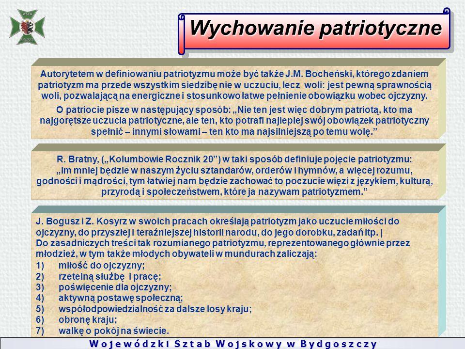 W o j e w ó d z k i S z t a b W o j s k o w y w B y d g o s z c z y Wychowanie patriotyczne Autorytetem w definiowaniu patriotyzmu może być także J.M.