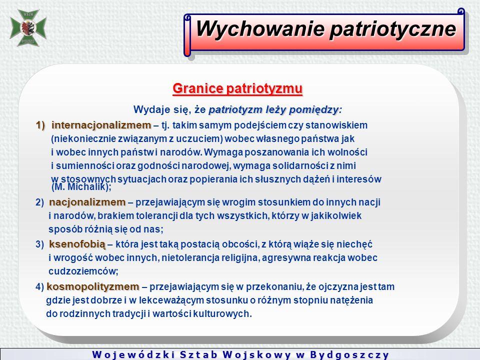 W o j e w ó d z k i S z t a b W o j s k o w y w B y d g o s z c z y Wychowanie patriotyczne Granice patriotyzmu patriotyzm leży pomiędzy Wydaje się, że patriotyzm leży pomiędzy: 1)internacjonalizmem 1)internacjonalizmem – tj.