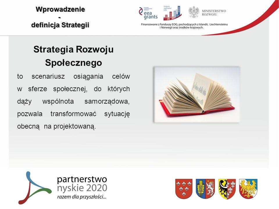 Wprowadzenie - definicja Strategii Strategia Rozwoju Społecznego to scenariusz osiągania celów w sferze społecznej, do których dąży wspólnota samorządowa, pozwala transformować sytuację obecną na projektowaną.
