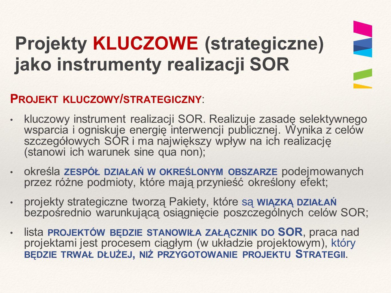 Projekty KLUCZOWE (strategiczne) jako instrumenty realizacji SOR P ROJEKT KLUCZOWY / STRATEGICZNY : kluczowy instrument realizacji SOR. Realizuje zasa