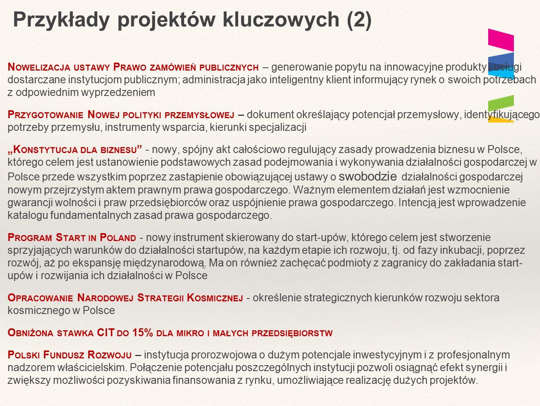 Przykłady projektów kluczowych (2) N OWELIZACJA USTAWY P RAWO ZAMÓWIEŃ PUBLICZNYCH – generowanie popytu na innowacyjne produkty i usługi dostarczane i