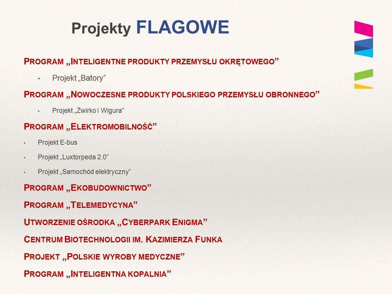 """Projekty FLAGOWE P ROGRAM """"I NTELIGENTNE PRODUKTY PRZEMYSŁU OKRĘTOWEGO Projekt """"Batory P ROGRAM """"N OWOCZESNE PRODUKTY POLSKIEGO PRZEMYSŁU OBRONNEGO Projekt """"Żwirko i Wigura P ROGRAM """"E LEKTROMOBILNOŚĆ Projekt E-bus Projekt """"Luxtorpeda 2.0 Projekt """"Samochód elektryczny P ROGRAM """"E KOBUDOWNICTWO P ROGRAM """"T ELEMEDYCYNA U TWORZENIE OŚRODKA """"C YBERPARK E NIGMA C ENTRUM B IOTECHNOLOGII IM."""