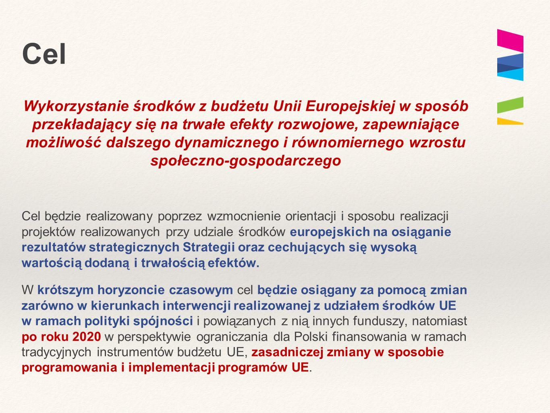 Cel Wykorzystanie środków z budżetu Unii Europejskiej w sposób przekładający się na trwałe efekty rozwojowe, zapewniające możliwość dalszego dynamiczn