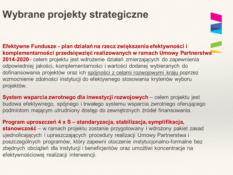 Wybrane projekty strategiczne Efektywne Fundusze - plan działań na rzecz zwiększenia efektywności i komplementarności przedsięwzięć realizowanych w ramach Umowy Partnerstwa 2014-2020– celem projektu jest wdrożenie działań zmierzających do zapewnienia odpowiedniej jakości, komplementarności i wartości dodanej wybieranych do dofinansowania projektów oraz ich spójności z celami rozwojowymi kraju poprzez wzmocnienie zdolności instytucji do efektywnego stosowania kryteriów wyboru projektów.